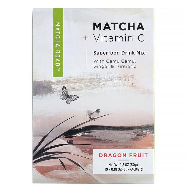 матча с витаминомС, смесь для приготовления напитка, питайя, 10пакетиков по 5г (0,18унции)