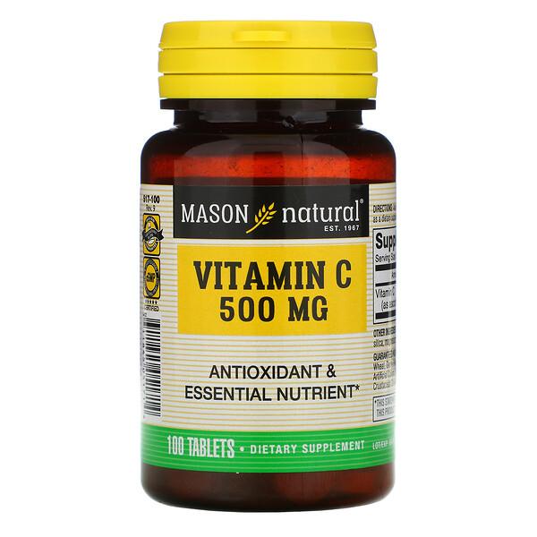 Mason Natural, ВитаминC, 500мг, 100таблеток