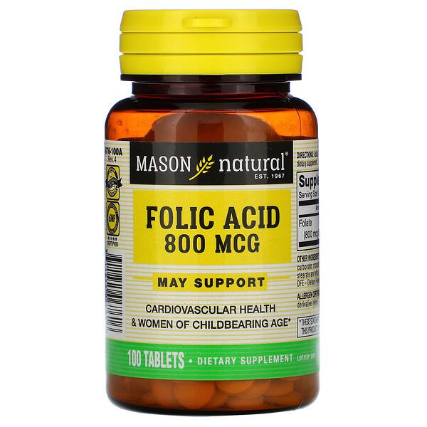 Фолиевая кислота, 800 мкг, 100 таблеток