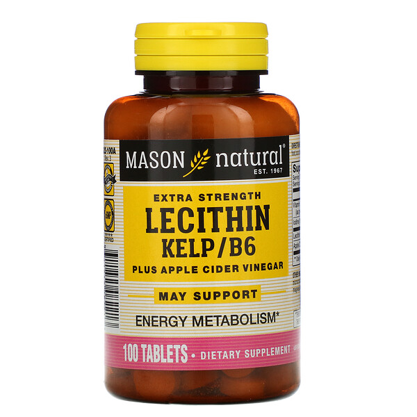 Lecithin Kelp/B6 Plus Apple Cider Vinegar, Extra Strength, 100 Tablets