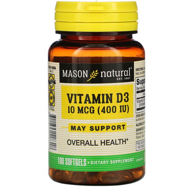 Vitamin D3, 10 mcg (400 IU), 100 Softgels