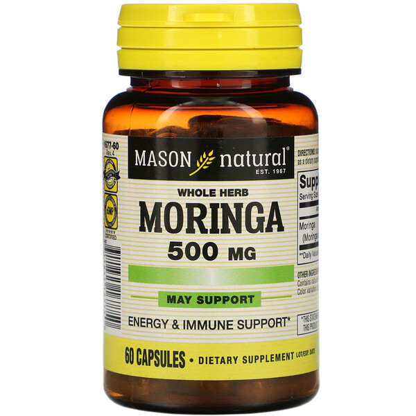 Mason Natural, Whole Herb Moringa, 500 mg, 60 Capsules