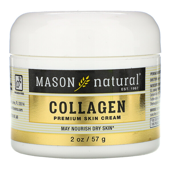 Mason Natural, Coconut Oil Skin Cream + Collagen Premium Skin Cream, 2 Pack, 2 oz (57 g) Each