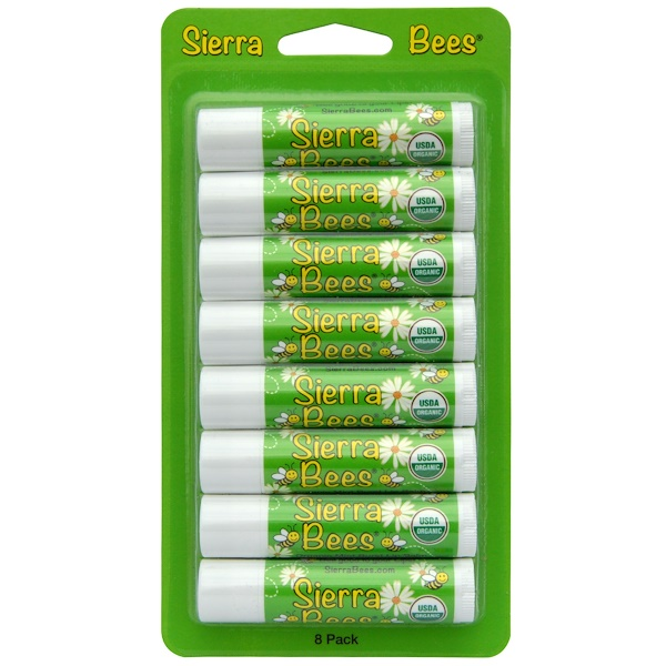 Sierra Bees, Органические бальзамы для губ, мятный взрыв, 8 штук в упаковке, 0,15унции (4,25г) каждый (Discontinued Item)