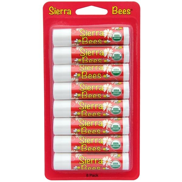 Sierra Bees, Органические бальзамы для губ, гранат, 8 штук в упаковке, каждый по 0,15 унции (4,25 г) (Discontinued Item)
