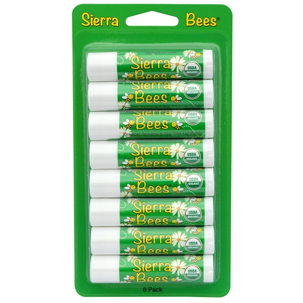 Sierra Bees, Органические бальзамы для губ, таману и чайное дерево, 8штук в упаковке, каждый по 0,15унции (4,25г) (Discontinued Item)