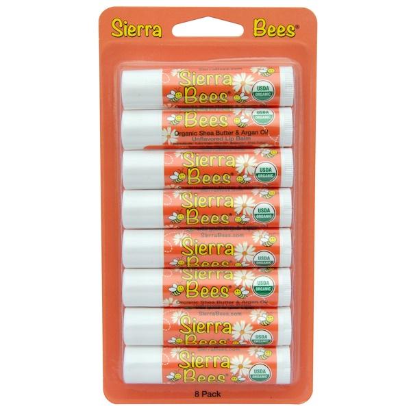 Sierra Bees, Органические бальзамы для губ, масло ши и аргановое масло, 8штук в упаковке, каждый по 0,15унции (4,25г) (Discontinued Item)