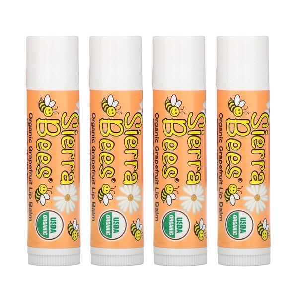 Sierra Bees, Органические бальзамы для губ, грейпфрут, 4 в упаковке, 4,25г каждый