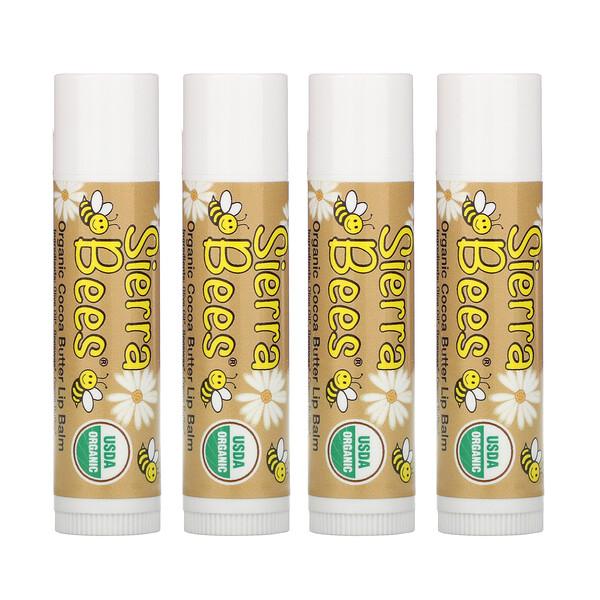Органические бальзамы для губ, какао-масло, 4штуки в упаковке весом 0,15унции (4,25г) каждая