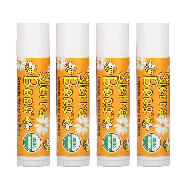 Органические бальзамы для губ, мед, 4 штуки в упаковке весом 0,15унции (4,25г) каждая