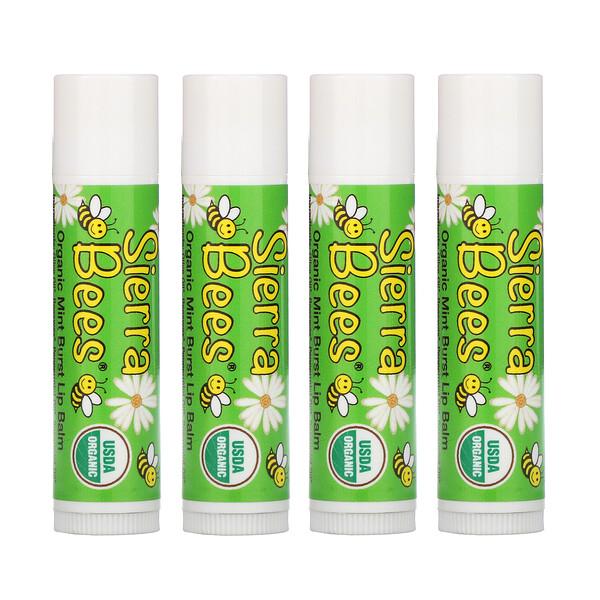 Органические бальзамы для губ, мятный взрыв, 4 штуки в упаковке весом 0,15унции (4,25г) каждая