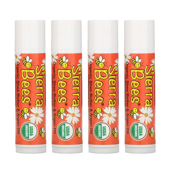 Органические бальзамы для губ, масло ши и аргановое масло, 4штуки в упаковке весом 0,15унции (4,25г) каждая
