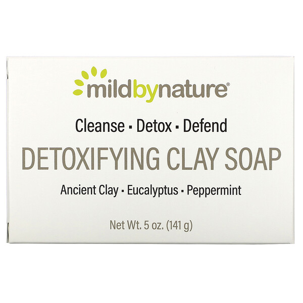 очищающее кусковое мыло с глиной, с ароматом эвкалипта и перечной мяты, с ископаемой глиной, 141г (5унций)
