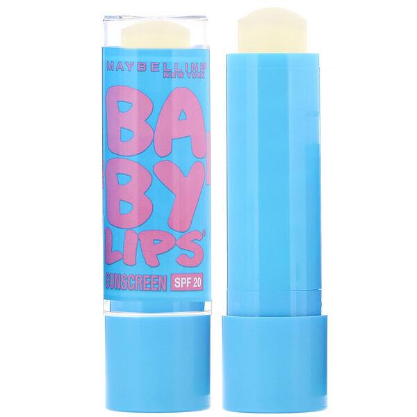 Maybelline, Baby Lips, увлажняющий бальзам для губ, с SPF20, бесцветный05, 4,4г (0,15унции) (Discontinued Item)