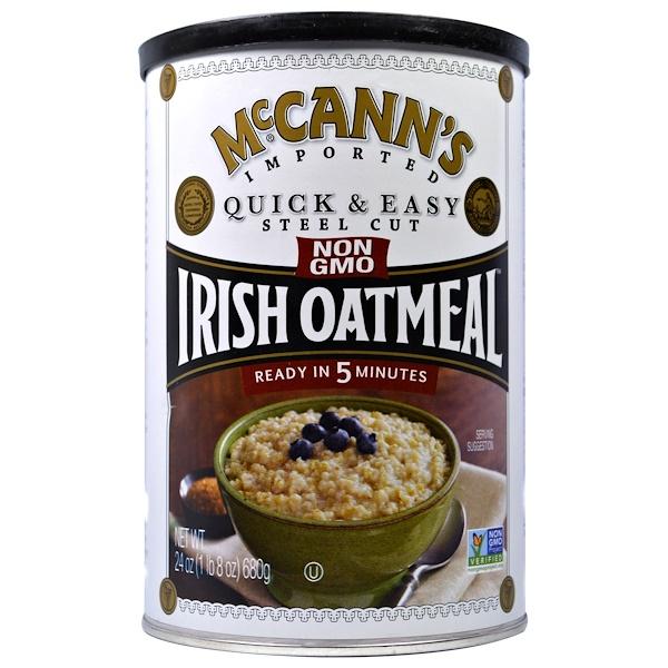 McCann's Irish Oatmeal, Быстрая и легкая молотая ирландская овсянка, 24 унции (680 г) (Discontinued Item)