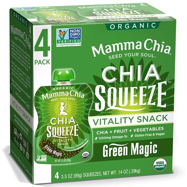 Mamma Chia, Органический сок чиа, энергетическая закуска, магия зелени, 4 пачки, 3.5 унций (99 г) шт. (Discontinued Item)