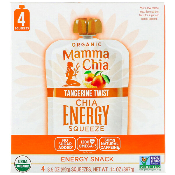 Mamma Chia, Organic Chia Energy Squeeze, Tangerine Twist, 4 Pouches, 3.5 oz (99 g) Each (Discontinued Item)