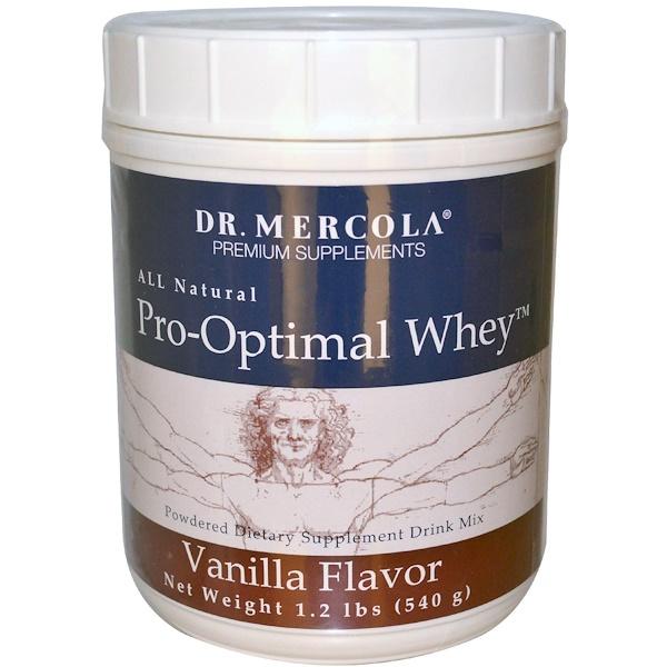 Dr. Mercola, Про-Оптимальный сывороточный протеин со вкусом ванили, 1,2 фунта (540 г) (Discontinued Item)