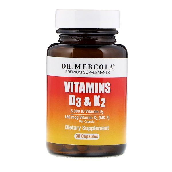 Dr. Mercola, Витамины D3 и K2, 30 капсул