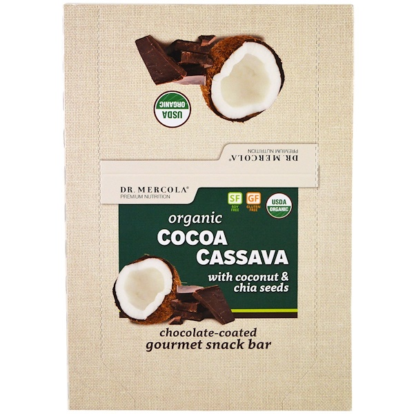 Dr. Mercola, Organic Cocoa Cassava with Coconut & Chia Seeds, 12 Bars, 1.55 oz (44 g) Each