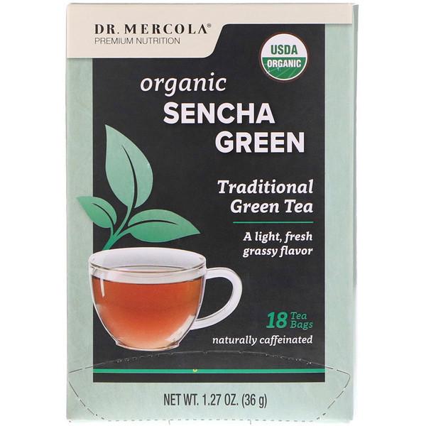 Dr. Mercola, Органический зеленый чай Сенча, Традиционный зеленый чай, 18 чайных пакетиков, 1,27 унц. (36 г) (Discontinued Item)