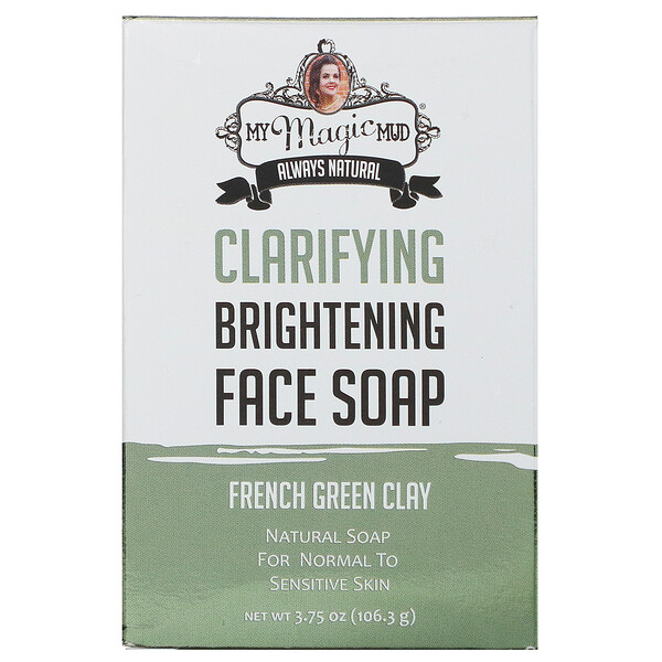 Clarifying Brightening Face Soap, French Green Clay, 3.75 oz (106.3 g)