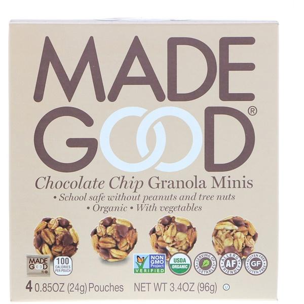 MadeGood, Органическиe шарики из мюсли с шоколадной крошкой, 4 пакетика по 0,85 унции (24 г) каждый (Discontinued Item)