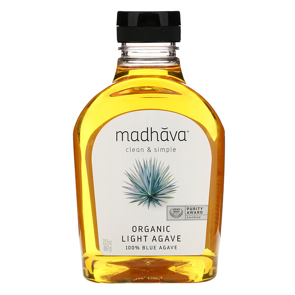 Madhava Natural Sweeteners, Organic Golden Light Blue Agave, 23.5 oz (667 g)
