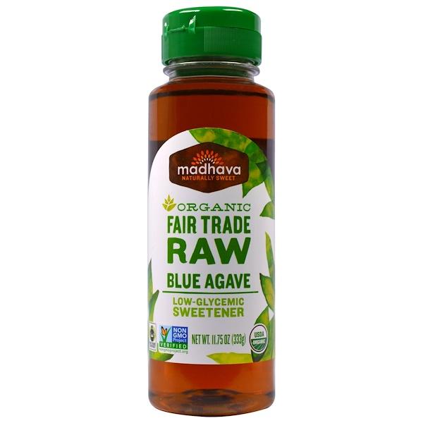 Madhava Natural Sweeteners, Органический низко-гликемический подсластитель из сырой голубой агавы, 11,75 унций (333 г) (Discontinued Item)
