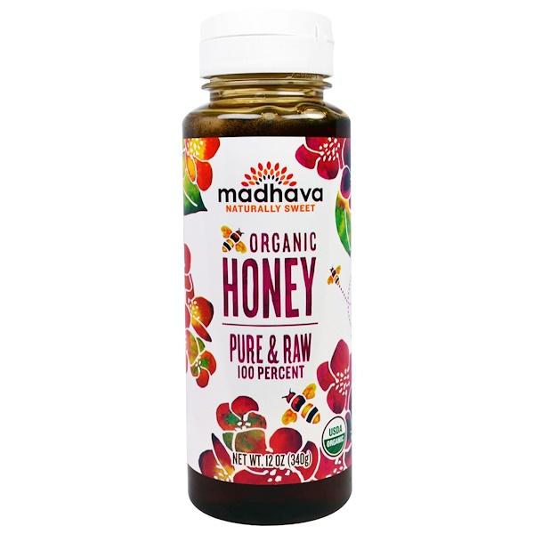 Madhava Natural Sweeteners, Органический мед, Чистый и Необработанный, 12 унций (340 г) (Discontinued Item)