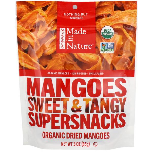 Органические сушеные манго, сладкая и пряная суперзакуска, 85 г (3 унции)