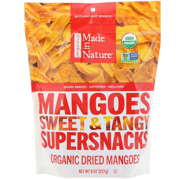 Органические сушеные плоды манго, сладкие и пикантные суперснеки, 227г (8 унций)