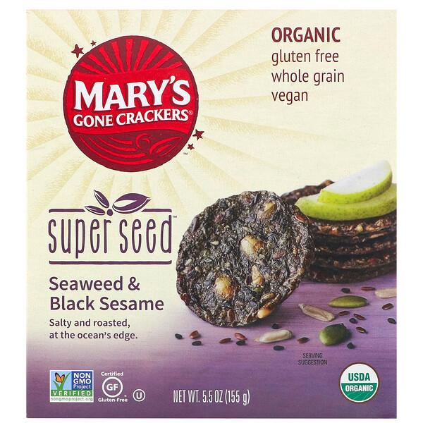 Mary's Gone Crackers, Крекеры Super Seed, нори и черный кунжут, 155г