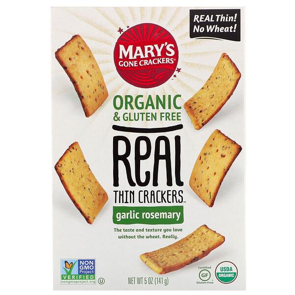 Крекеры Real Thin Crackers, чеснок и розмарин, 141г