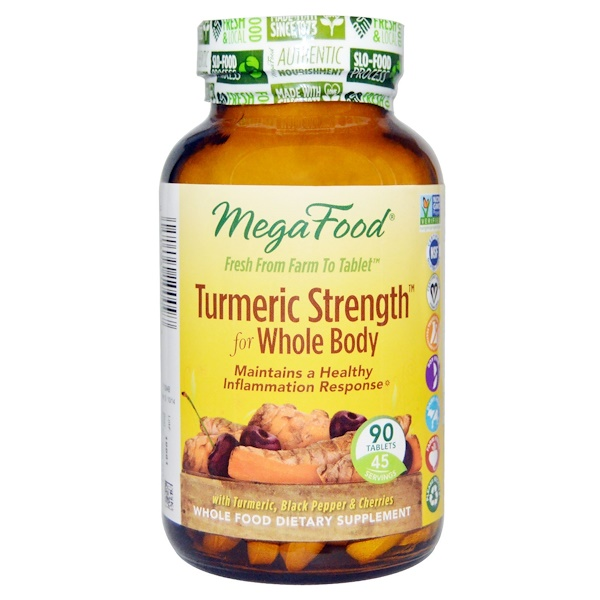 MegaFood, Turmeric Strength for Whole Body, 90 Tablets (Discontinued Item)