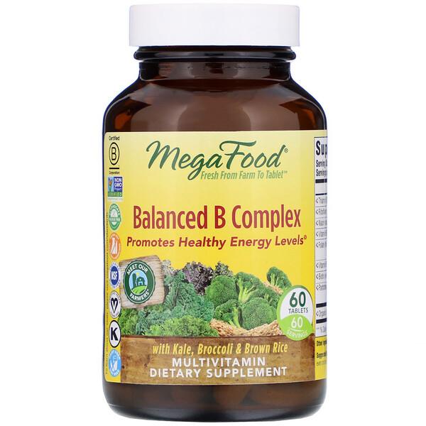 MegaFood, Сбалансированный комплекс витаминов группы В, 60 таблеток