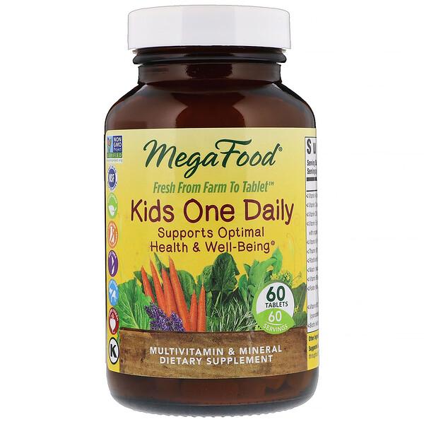 MegaFood, Kids One Daily, витамины для детей, 60таблеток