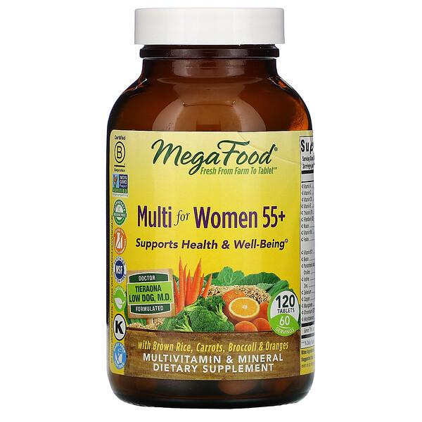 MegaFood, Multi for Women 55+, комплекс витаминов и микроэлементов для женщин старше 55лет, 120таблеток
