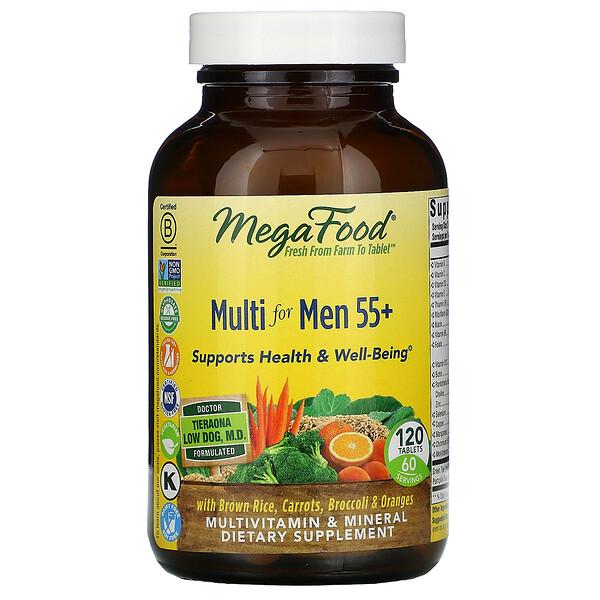 MegaFood, Multi for Men 55+, комплекс витаминов и микроэлементов для мужчин старше 55лет, 120таблеток