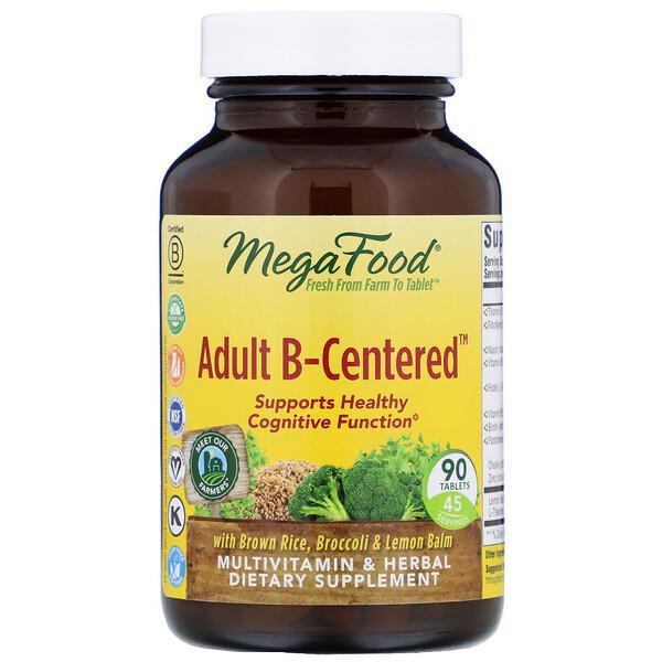 """MegaFood, """"Взрослый B-основанный"""", мультивитаминный комплекс с травами, 90 таблеток"""