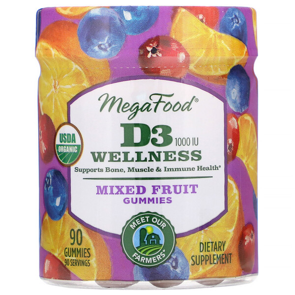 MegaFood, D3 Wellness, Mixed Fruit Gummies, 1,000 IU, 90 Gummies