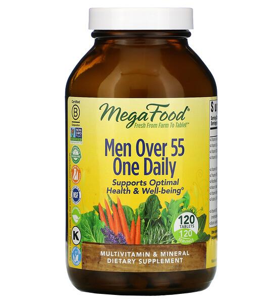 мультивитамины для мужчин старше 55лет, для приема один раз в день, 120таблеток