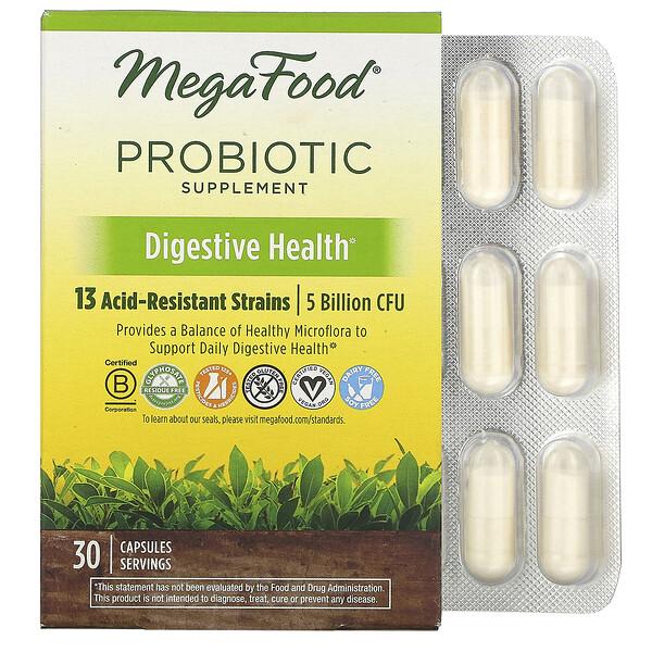 MegaFood, Пищевая добавка с пробиотиками, Здоровье пищеварительной системы, 30 капсул (Discontinued Item)