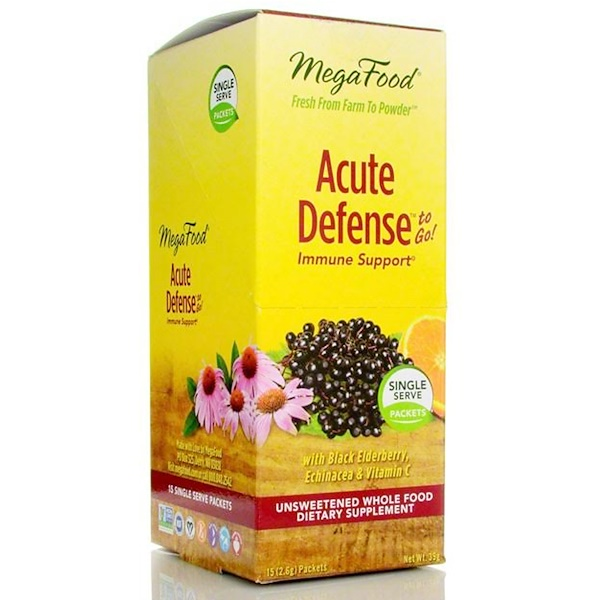 MegaFood, Acute Defense To Go!, with Black Elderberry, Echinacea & Vitamin C, 15 Packets, 2.6 g Each (Discontinued Item)