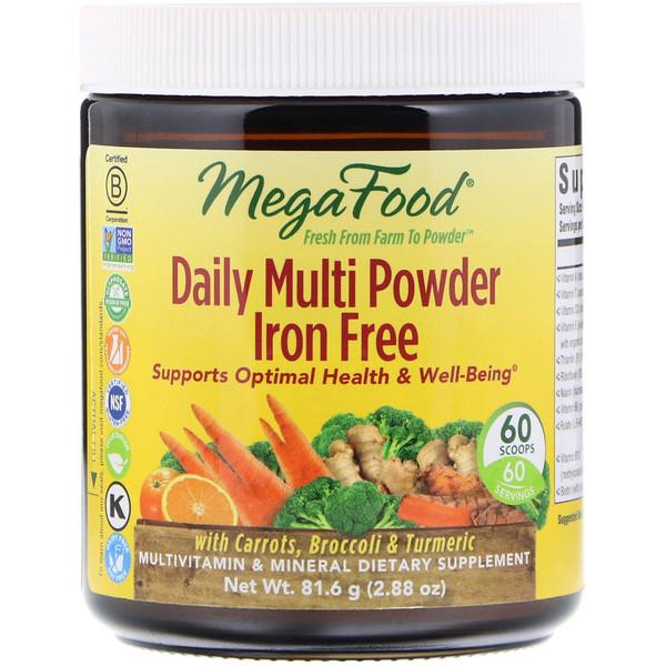 MegaFood, Мультивитамины на каждый день в виде порошка, Не содержит железа, 2,88 унц. (81,6 г) (Discontinued Item)
