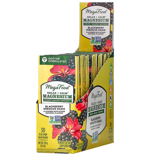MegaFood, Relax + Calm Magnesium, Blackberry Hibiscus Oasis, 30 Single Serve Packets, 4.2 oz (120 g)