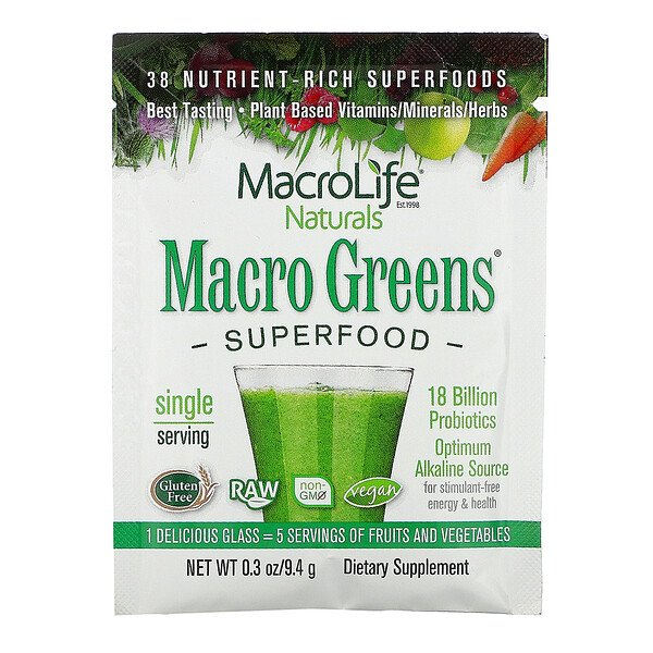 Macrolife Naturals, Macro Greens, Superfood, 9.4 g