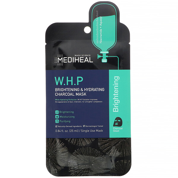 W.H.P, Brightening & Hydrating Charcoal Mask, 1 Sheet, 0.84 fl oz (25 ml)