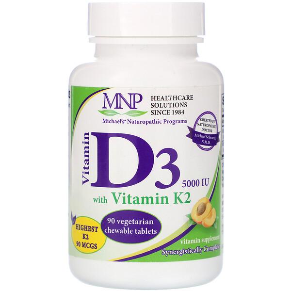 Michael's Naturopathic, витаминD3, с витаминомK2, вкус натурального абрикоса, 125мкг (5000МЕ), 90вегетарианских жевательных таблеток