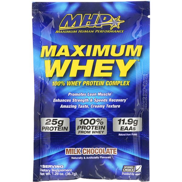 MHP, Maximum Whey, Milk Chocolate, 1.29 oz (36.7 g) (Discontinued Item)